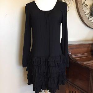 Express Size Large Long Sleeve Black Dress Ruffles
